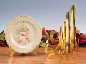 Plate Stands:  Solid Brass Hinged Plate Stand