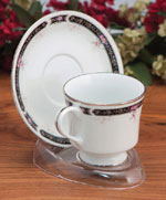 Cup and Saucer:  Clear Plastic Cup & Saucer Stand