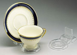 Cup and Saucer:  Clear Plastic Cup and Saucer Stands