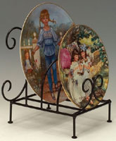 Plate Stands:  Four Plate Wrought Iron Flat Stand
