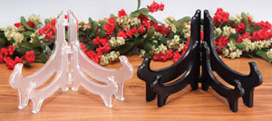 Plate Stands:  Clear or Black Plastic Hinged Bowl Stands
