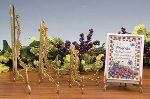 Plate Stands:  Ornate Antique Brass Stands
