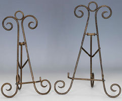Plate Stands:  Antique Gold Finish Easels