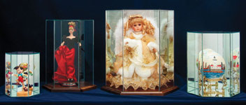 Glass Display Cases:  Hexagon Doll & Figurine Wood & Glass Display Case