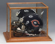 Wood Trim Football Helmet Display Case With Lucite Stand