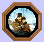Collector Wall Plate Frame:  Octagonal  Medium Oak Wood One-Plate Wood & Glass Collectible Plate Display Frame