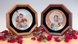 Collector Wall Plate Frame:  Octagonal  One-Plate Wood & Glass  Dark Oak Wood  Collectible Plate Display Frame