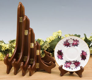 Plate Stands:  Walnut Finish Plate Stand