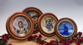 Round Hard Wood Collector Plate Frames
