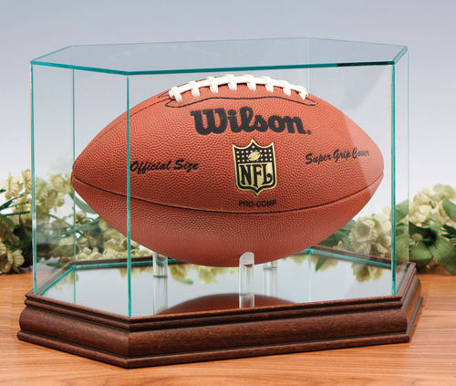 clear glass football display case table top holder custom made please allow 46 weeks for delivery - Basketball Display Case