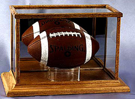 Rectangular Football Glass and Wood Display Case