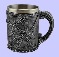 Stainless Steel Medieval Dragon Mug / Coffee Cup