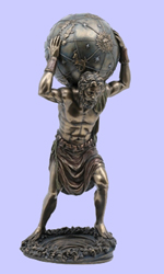Fused Bronze Atlas  Statue