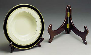 Bowl Stands:  Large Hardwood Bowl & Platter Hinged Stand