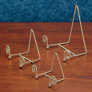 Plate Stands:  Gold Twisted Wire Easel Plate Stand