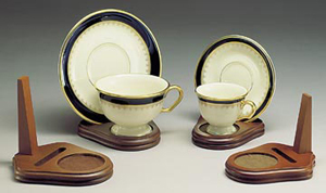 Cups and Saucers:  Wooden  Cup, Saucer, and Plate Display Stand