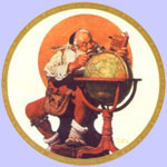 Santa At The Globe  -  Norman Rockwell Plate