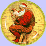 Santa At The Map  -  Norman Rockwell Plate