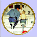 The Runaway  - Policeman and Boy  -  Norman Rockwell Plate