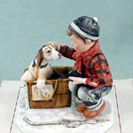 Winter - A Boy Meets His Dog - Norman Rockwell Four Seasons Miniature Figurine