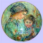 Edna Hibel - First Hibel Mother's Day Plate 1973 - Colette and Child - Royal Doulton