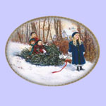 Winter Wonderland -  Sandra Kuck Christmas Plates - Bringing in the Tree