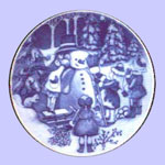 Snowman - Royal Copenhagen Children's Christmas Plate - Ingrid Jensen