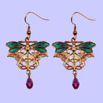Nouveau Dragonfly Earrings Costume Jewelry