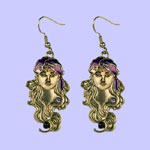 Nouveau Turban Girl Earrings Costume Jewelry
