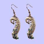 Nouveau Peacock Earrings Costume Jewelry