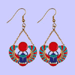 Winged Scarab Earrings Costume Jewelry