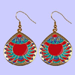 Cheveron Medallion Earring Costume Jewelry