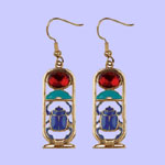 Scarab Cartouche Earring Costume Jewelry