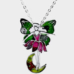 Pink & Green Fairy Pendant Costume Jewelry