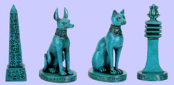 Set of 4 Egyptian Faience Statues