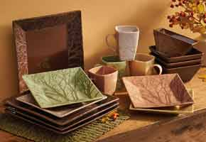 Brown, Green Gold,  Square Dinner Plates, Salad Bowls, Bread Plates & Mugs - Stoneware Dinnerware